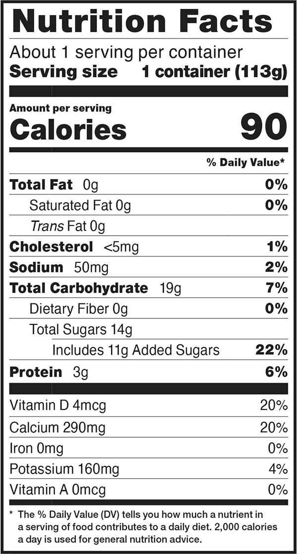 Nutrition facts for 4 OZ. Vanilla