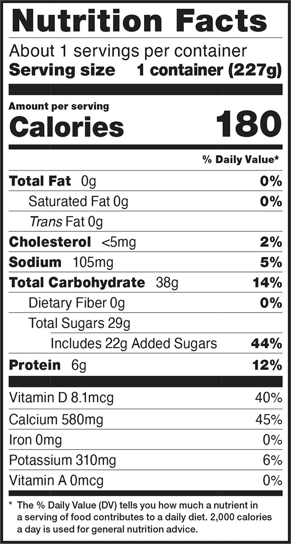 Nutrition facts for 8 OZ. Blueberry