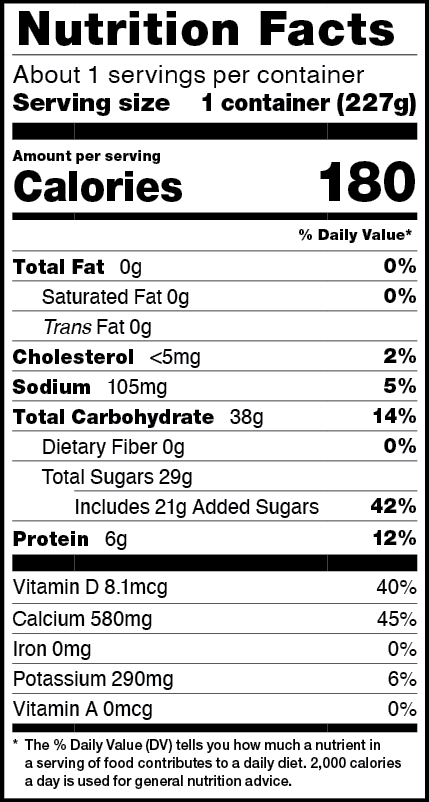 Nutrition facts for 8 OZ. Peach